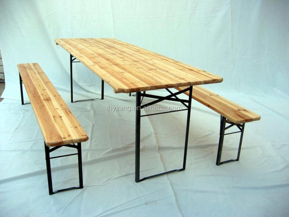 folding wooden beer table/wooden folding camping table/foldable beer bench