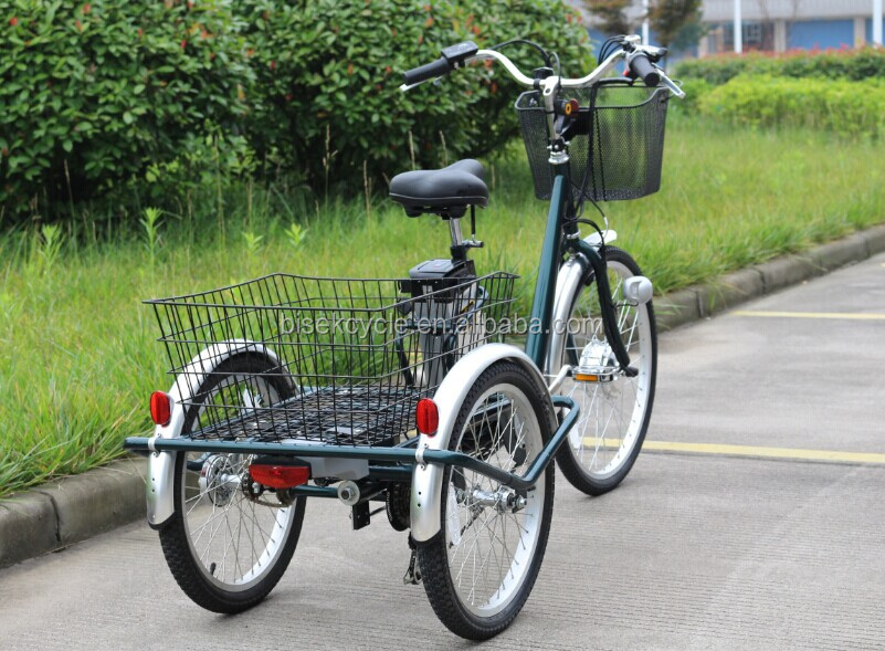 3 wheeled electric bicycle with big cargos for the elderly