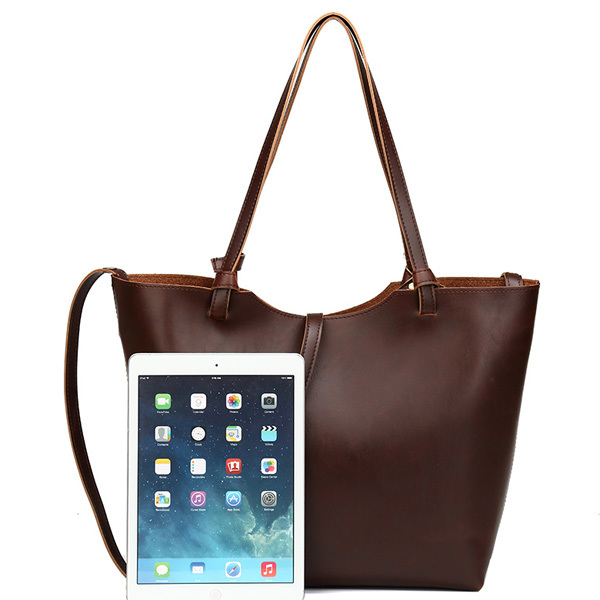Custom vintage crazy Horse ladies PU leather handbag tote bag wholesale