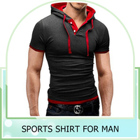 2016 Summer Fashion T Shirt With Hood Mens's Cotton Short Sleeve Fintness T shirts Sports T-Shirt Slim Tops