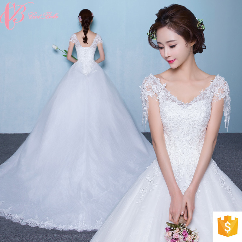 2017 Luxury Suzhou Simple Wedding Dress Wholesale Cap Sleeve Bridal Gown