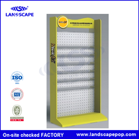 Factory price flooring display metal grid panel shelf/metal floor display/metal hooks display shelf