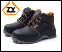 New PU injection outsole waterproof genuine leather safety boots man with black steel toe for work and man's work shoes