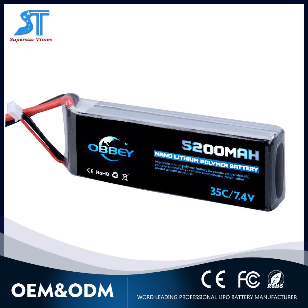 Customised High discharge rate 5200mah 35C 7.4V rc car lithium polymer battery pack