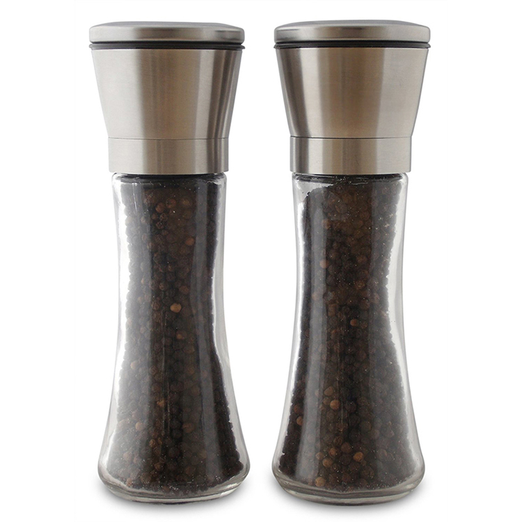 Summer New Product Ideas 2019 Design Kitchen Accessories Peppers Grinders Mills Stainless Steel Manual Glass Salt Pepper Grinder