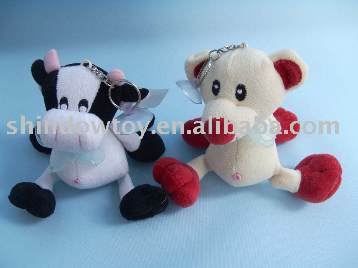 Plush cow/mouse/wolf/frog/lion/dog keychain/Stuffed Plush Toy