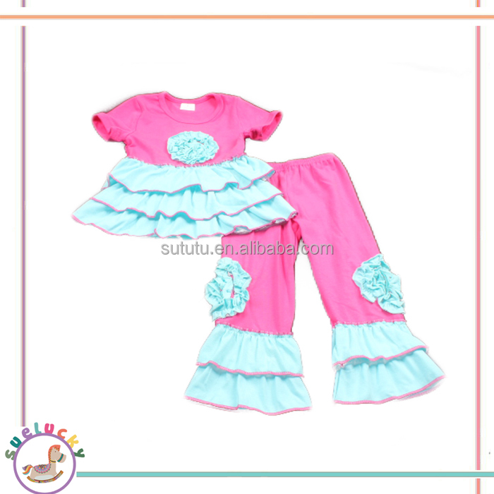 Wholesale short sleeves rose red 2pieces triples ruffles bell and flowers kids clothing sale baby clothes boutique baby suits