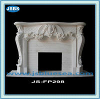 Indoor Hand Carved White Marble Zero Clearance Fireplace Manufacture