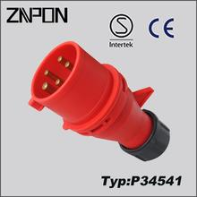 32A 380V 3P+N+E male and female industrial plug and socket P34541