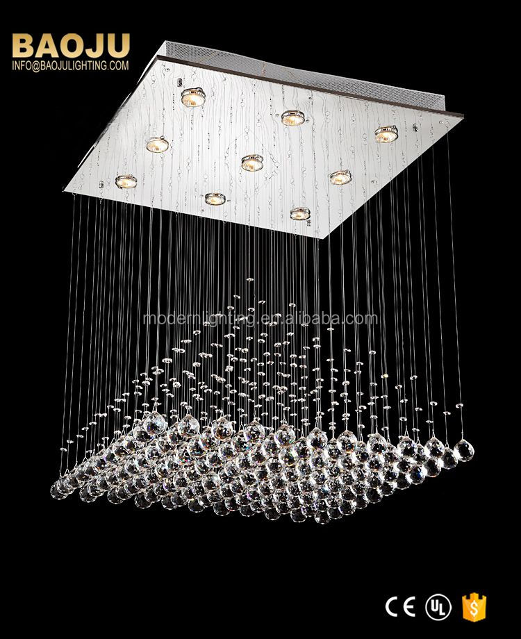 Indoor square crystal hanging light residential chandelier pendant light