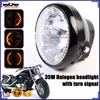 BJ-HL-008 Wholesale sport bike amber round black 35W 26 LED headlight motorcycle