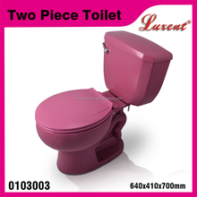 Manufacturer sanitaryware siphonic single flush wc two piece toilet pink