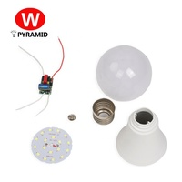 3W 5W 7W 9W 12W 15W 18W B22 Uncompleted Product Cheap raw material led bulb Plastic Spare part SKD CKD LED Bulb