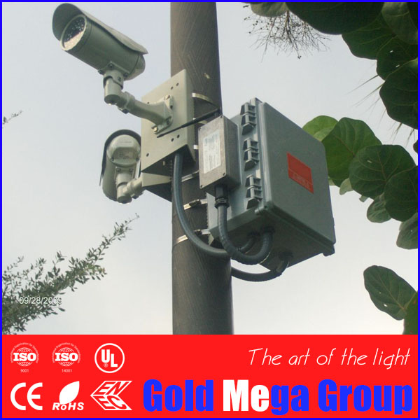5-8m height sIngle arm Column Mounting Loop Bracket Steel for CCTV Surveillance PTZ Dome CCD Camera, cctv camera bracket