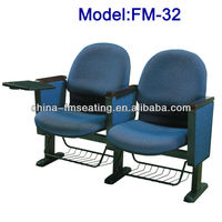 School conference hall chairs with writing desk