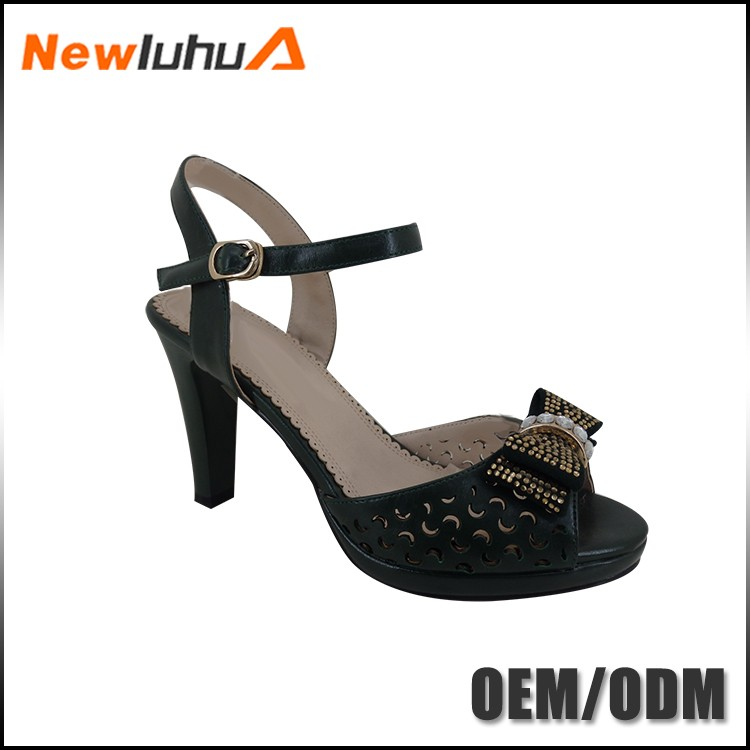 China factory seller bowknot leather girls latest high heel sandals