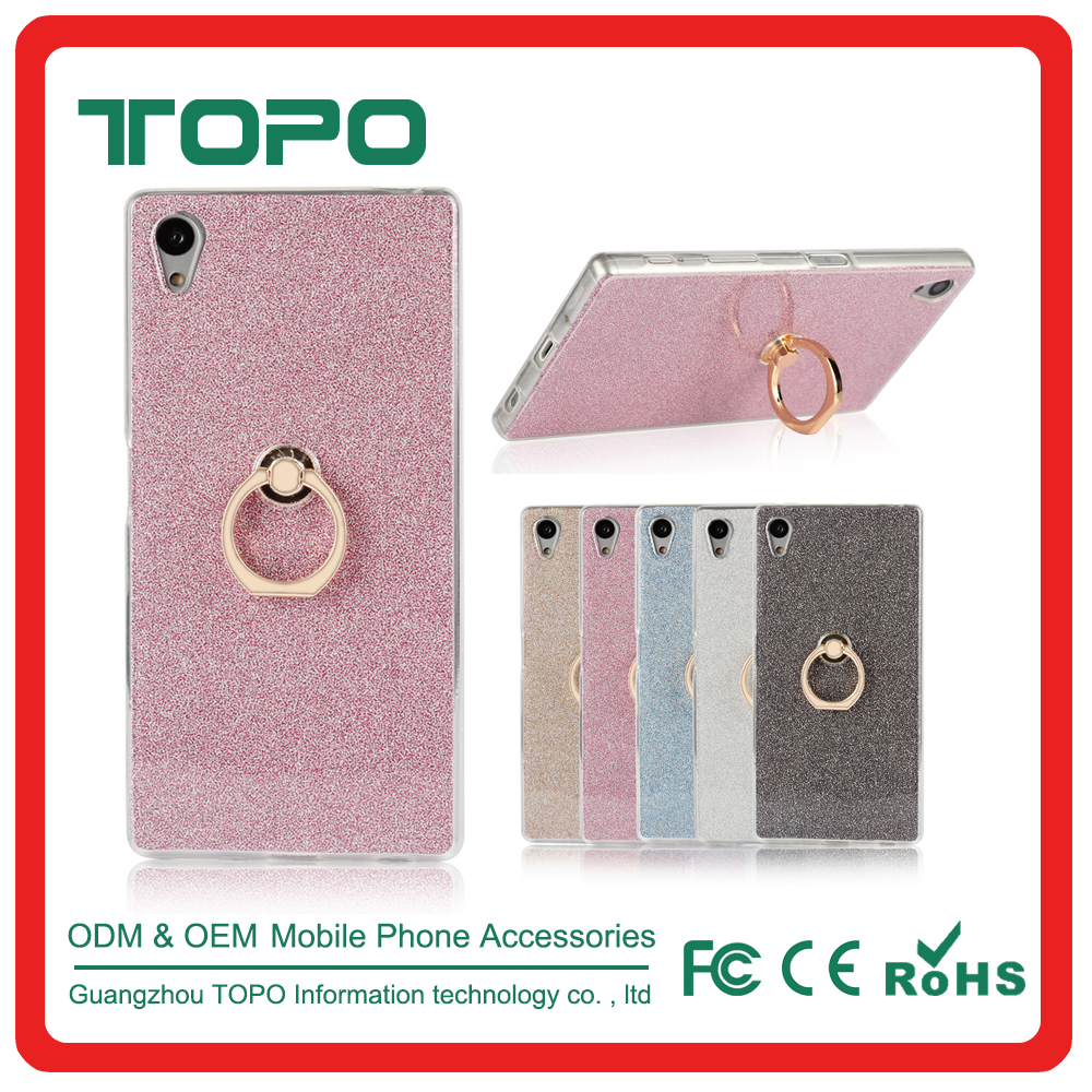 Hot sale bling Shining Glitter Soft Clear TPU Phone Case Cover For sony Z5 for iPhone 7 Plus With 360 Rotating Ring Phone Holder