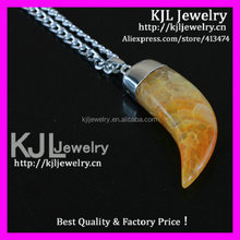 GZKJL-CT0400 Silver Chain Natural druzy Yellow Agate Horn Tusk Necklace wholesale
