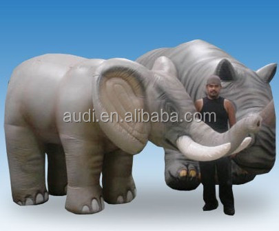 11 Ft. Long by 6 Ft. Tall Inflatable Elephant and 10 Ft. long by 6 Ft. Tall Inflatable Rhino