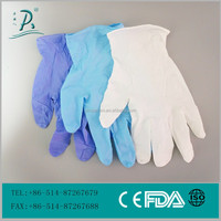 China Supplier White/Purple/Blue color disposable nitrile gloves