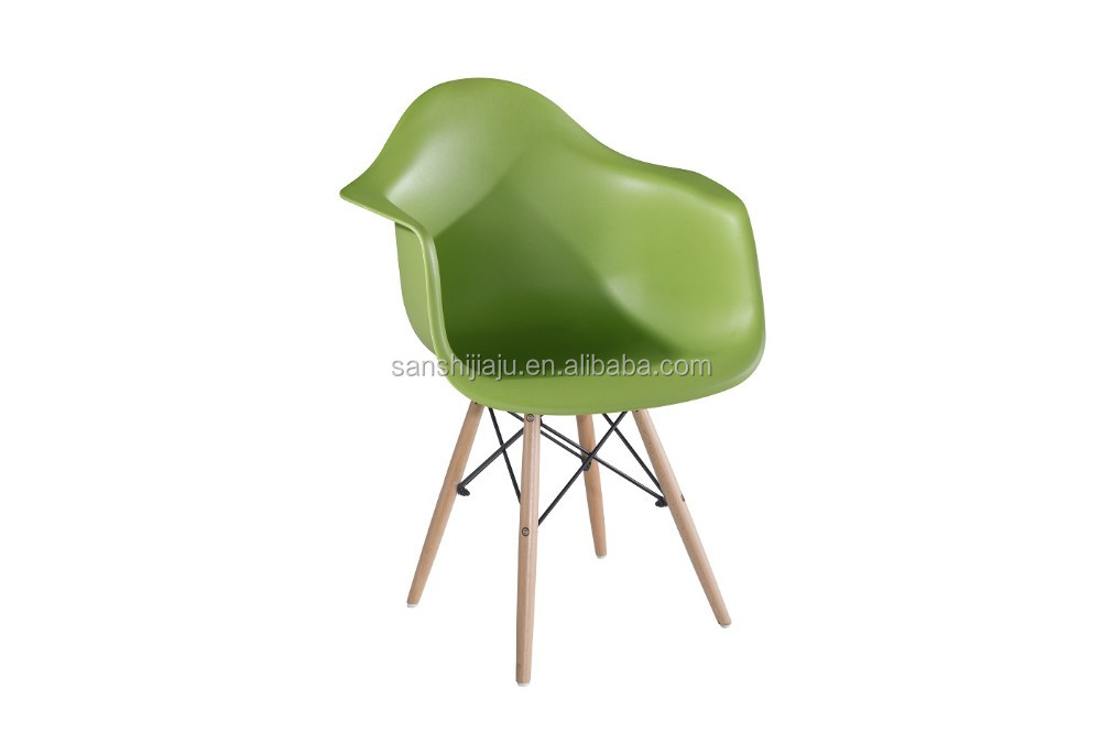 Modern plastic side chair with wood dowel Legs