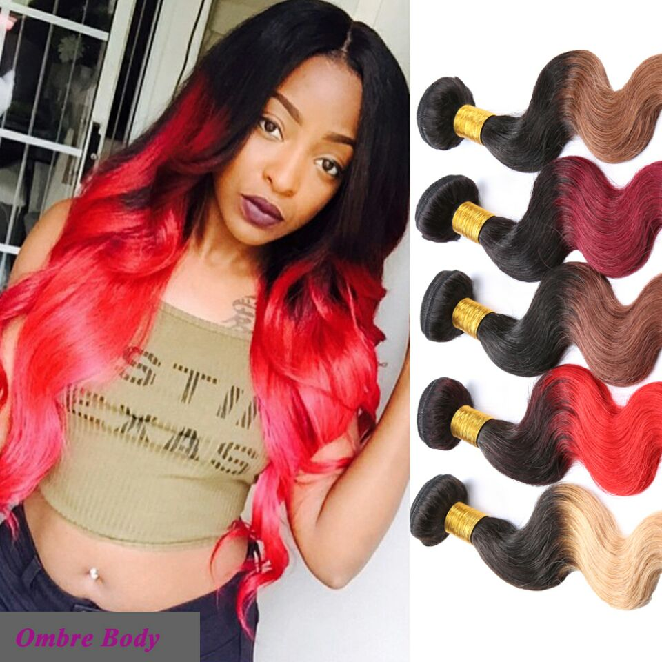 6A Ombre Hair Extensions Burgundy Brazilian Body Wave Two Tone Color 100% Human Hair Weave 1B/Blonde Brown Burgundy 613 Red