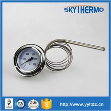industrial capilliary hot water high quality all stainless steel back mounting industrial capillary temperature meter with flang