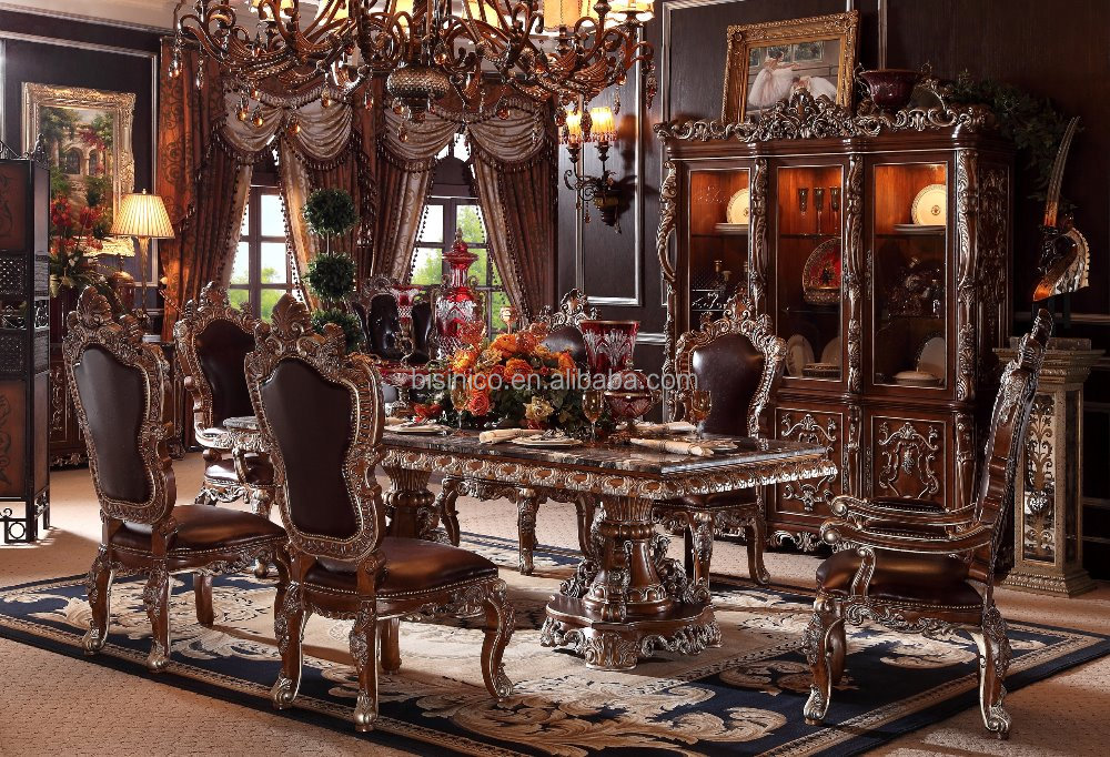 Classic Royal American Style Solid Wood Hand Carved Long Dining Table/Dining Room Furniture Set(MOQ=1 SET)