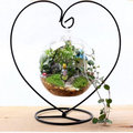 Flower glass vase with heartshape metal stand for wedding decoration