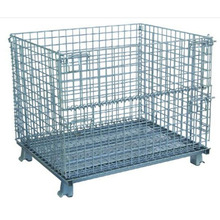Warehouse stackable wire mesh metal storage container cages with wheels