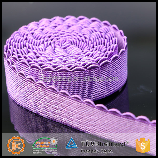China factory non-slip factory custom nylon spandex waved spandex bra strap