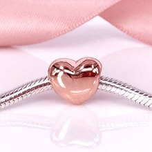 Beautiful Romantic Big Smooth Heart Silver 925 Bead DIY 925 Sterling Silver Jewelry Wholesale