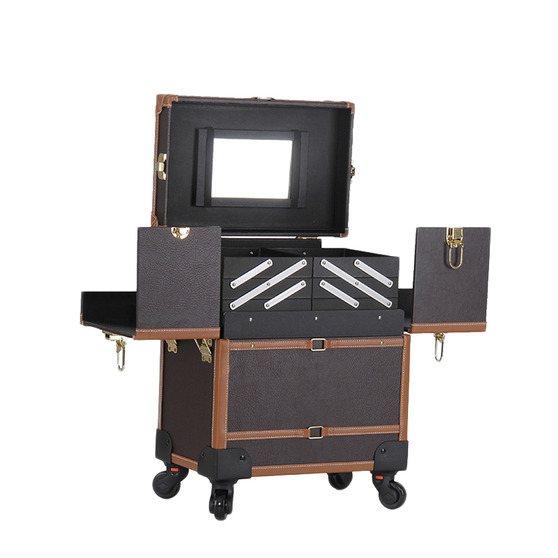 Emovable Wheel Expandable Rolling Makeup Trolley Suitcase For Hairdressing