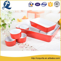 Factory wholesale 6pcs oven safe colorful ceramic bread baking tray