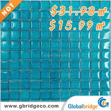 Low price wholesale blue mixed swimming pool crystal glass mosaic tiles