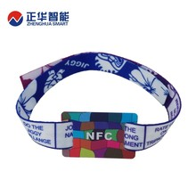 customized hf nfc 13.56mhz fabric smart wristband from factory