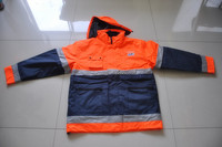 work wear reflective fluorescent raincoat With Reflective Tape for men
