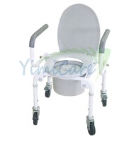 toilet high back jd-2009 portable steel folding commode chair with reclining backrest