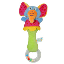 EN71 certificate Amazon hot sale cute plush baby rattle with teether toy