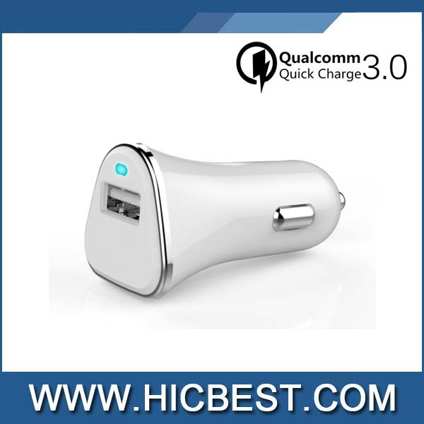 CE,FCC,ROHS Approved Portable Universal QC3.0 Rapid Smart Car Adapter QC3.0 Qick Charge Car Charger