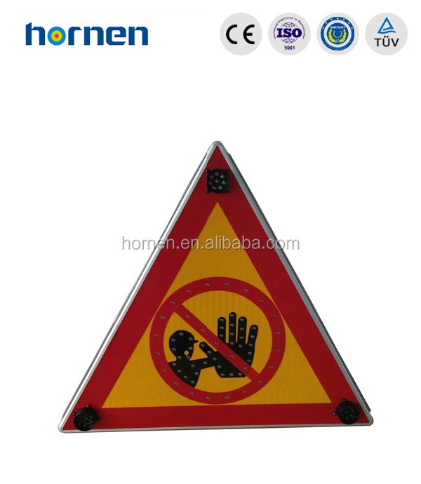 Solar triangle traffic road safety signs