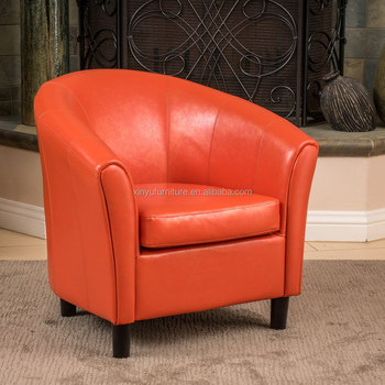 Orange leather hotel arm reclining reception chair XYN1597