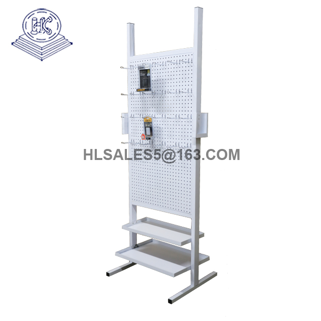Doubled sided metal pegboard display stand