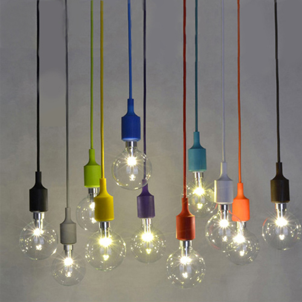 Silicone Material Bulb Shaped Glass Pendant Lamp Colorful