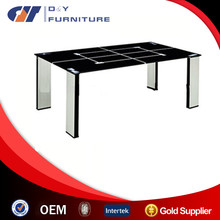 2015 modern metal chrome MDF legs glass dining table