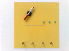 Colorful tempered magnetic glass notice board with hooks
