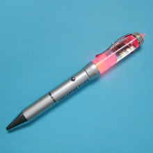 LED Liquid ballpoint pens with 3D floater inside Metal Liquid floating pens with LED light