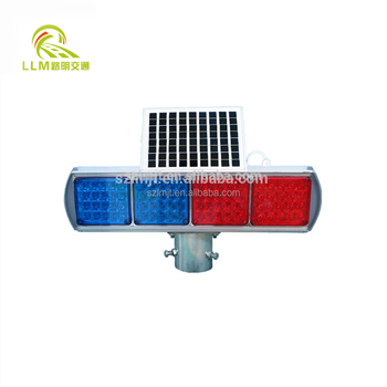Top quality road safety solar powered red and blue LED flashing traffic warning light