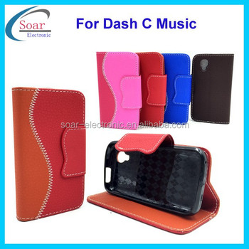 Top selling wallet leather case for Blu dash C music with card slots