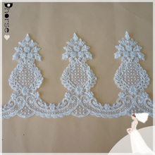 Hand beaded lace fabric/sequins curtain trimmings 27cm wide/embroidery designs-DHBL1697